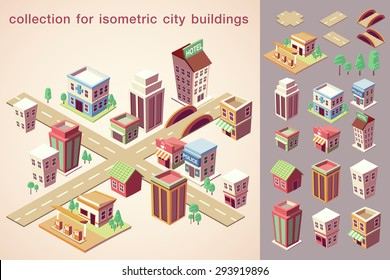 isometric city buildings collection