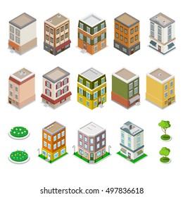 Isometric City Buildings Set. Modern Houses with Flowers. Vector illustration