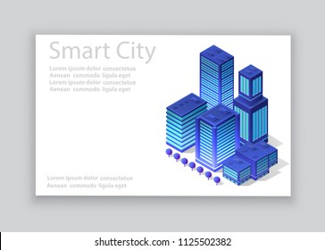 Isometric city business card template of violet colors 3d building modern town street, urban road architecture. Ultraviolet illustration map of isometry for the design concept.