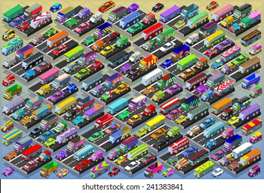 Isometric City Car Collection Auto Automobile Vehicle. Vector Isometric 3d Transport Graphic Icons. Road Traffic Truck. Car Vehicle Collection 3d Illustration