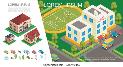 Isometric City Colorful Concept