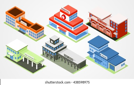 Isometric city departments buildings. Scool, ambulance, fire, police, post office and bus station