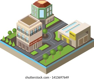 Isometric city district illustration, cafe, shop and big house