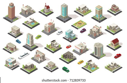 Isometric city elements collection with living and municipal buildings suburban houses children playground transport isolated vector illustration