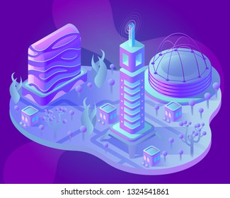 Isometric city of the future. Neon, purple, glowing and modern style for fantastic projects. For game art and business. Concept of a fantastic city.