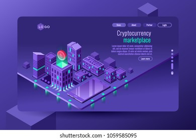 Isometric city illustration as symbol of electronic finance, cryptography and secure banking, this is a vector isometric violet blue web template design.
