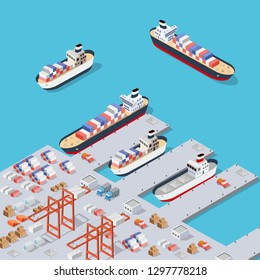 Isometric City industrial dock port with container cargo industry freight and transport boat naval ships nautical on the sea for terminal distribution shipment illustration. Set of ship transportation