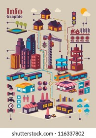 isometric city info graphic,city background with isolated buildings