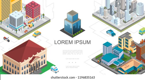 Isometric City Landscape Composition