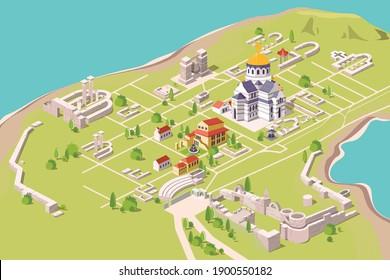 Isometric city map CHERSONES TAVRICHESKY
