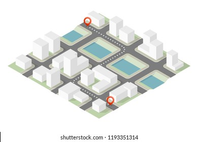 Isometric City map navigation route, point marker delivery van, vector drawing itinerary delivery car, city plan GPS navigation itinerary destination arrow city map. Route delivery check point graphic