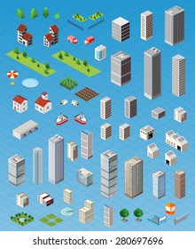 Isometric city map road, trees and building home elements set isolated vector illustration.