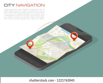 Isometric City map smartphone navigation, Isometry phone point marker, vector schema isometric city plan GPS navigation tablet, itinerary destination arrow paper city map. Route isometric check point
