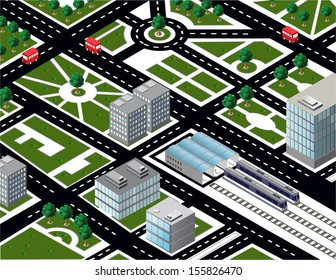 Isometric city model with transport