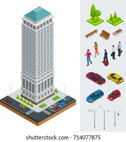 Isometric City modern flat buildings. Financial district. Set of vector tall building, trees, benches, businessman, cars on a white background