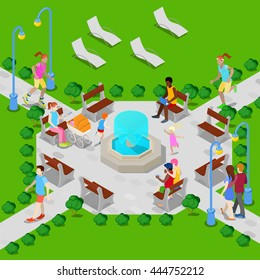 Isometric City Park with Fountain. Active People Walking. Vector illustration
