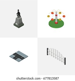 Isometric City Set Of Barricade, Crossroad, Swing Attraction And Other Vector Objects. Also Includes Fence, Wooden, Monument Elements.