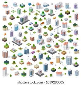 Isometric city set street road traffic cars. Infrastructure landscapes urban economy.