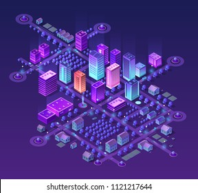 Isometric city set of violet colors 3d building modern town street, urban road architecture. Ultraviolet illustration map of isometry for the business design concept.