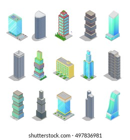 Isometric City Skyscraper Buildings. Modern Architecture Cityscape. Vector 3d flat illustration