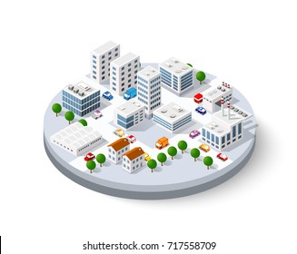 Isometric city with skyscrapers with houses, streets and buildings
