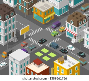 Isometric city. Town district street. Advertising billboard on the road Intersection crosswalk. Vector high detail city projection view. Cars end buildings top view.