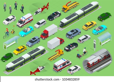 Isometric city transport with front and rear views. Trolley, plane, helicopter, bicycle, sedan, van, cargo truck, off-road, bike, mini. Urban public and freight vehihle.