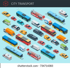 Isometric city transport with front and rear views. 3d vector cars icon. Highly detailed vector illustration