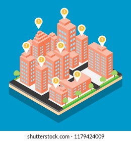 Isometric city vector design on blue background