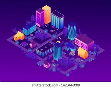 Isometric city vector illustration. Buildings