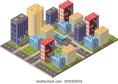 Isometric city vector.Smart town with road , smart city and public park,building 3d,capital , Vector office and metropolis concept.