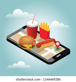 Isometric city. Winter fast food delivering. Fast food restaurant. Snow winter day. Mobile searching. Geo tracking. Map.Isometric city. Food delivering.