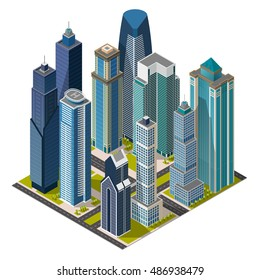 Isometric city,megapolis concept office buildings, skyscraper, street, landmarks. Vector 3d top view