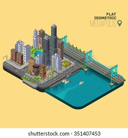 Isometric city,megapolis concept with office buildings,cafes,store,skyscraper,street,  bridge and river.