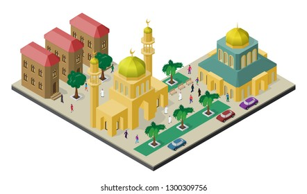 Isometric cityscape with multicultural citylife. Mosque with minarets, urban buildings, trees, benches, car and people.