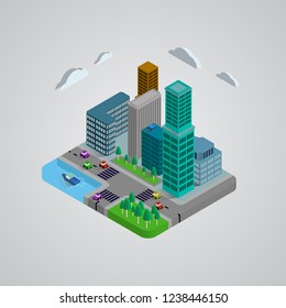 Isometric classic buildings 3D design, house, cars, tree, lake and broad. the graphics concept for your design, Vector illustrator.