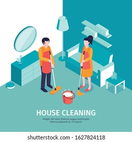 Isometric cleaning background with editable text and indoor scenery with furniture and characters of professional housecleaners vector illustration