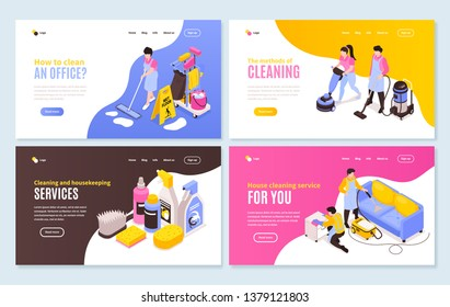 Isometric cleaning service horizontal banners collection with four web site compositions of images and clickable links vector illustration