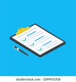 Isometric Clipboard with checklist symbol. Pad with sheet of paper and pen