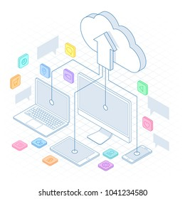 Isometric Cloud Computing Concept in outline isolated on white. Cloud computing services and technology, data storage. Technology Service line design web banner.