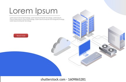 isometric cloud server from computer , nvidia driver laptop and smartphone
