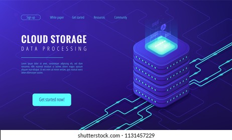Isometric cloud storage data processing landing page concept. Collection and manipulation, recording, organisation, structuring of data items on blue background. Vector 3d isometric illustration.