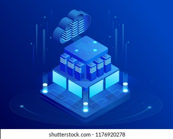 Isometric cloud technologies networking concept. Web cloud technology business. Internet data services. Computing online storage. Illustration Vector