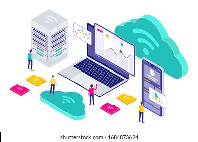 Isometric Cloud Technology Modern Illustration, Web Banners, Suitable for Diagrams, Infographics, Book Illustration, Game Asset, And Other Graphic Assets
