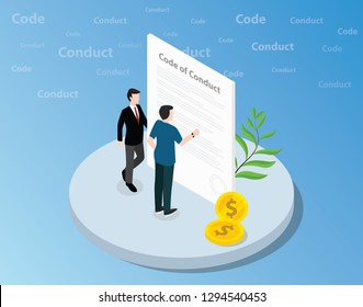 isometric code of conduct concept with business man standing together on front of text and reading - vector illustration