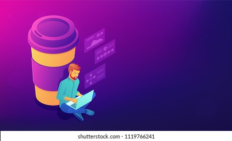 Isometric coffee break concept. Blockchain developer sitting near big coffee cup with chat bubbles above. Labour productivity, office life vector 3D isometric illustration on ultraviolet background.