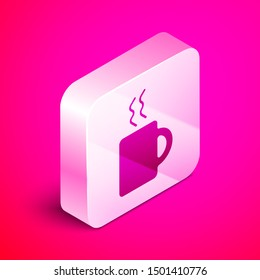 Isometric Coffee cup icon isolated on pink background. Tea cup. Hot drink coffee. Silver square button. Vector Illustration
