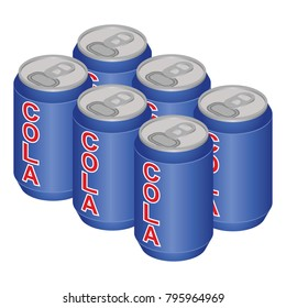 Isometric Cola Can Six Pack