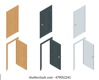 Isometric Collection of doors. Flat 3d closed, open, black, handle, modern, house, office, wooden, white doors. House entrance architecture elements flat icon set isolated vector illustration