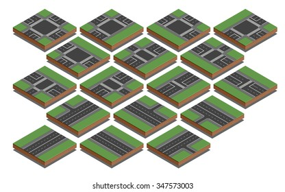 Isometric Collection of Isolated Connectable Highway Elements, Constructions and Various Vehicles.